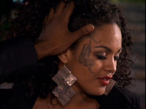 Yup, this is a face tattoo. Ray J seems intrigued by it.