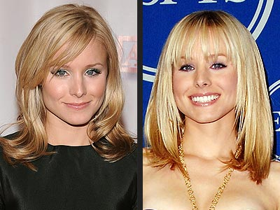 side swept hairstyles. her side-swept bangs and a