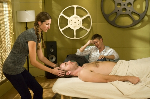 ... Van Der Beek) gets a massage while you know, sitting nude under a towel.