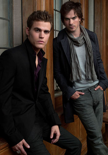 Paul Wesley and Ian Somerhalder pose here for a promotional photo.